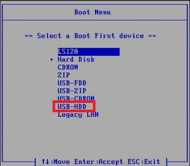 Выберите USB-HDD